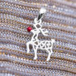 Silver Plain Rudolph Reindeer Pendant (P-1274-R)