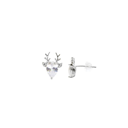 Sterling Silver CZ Reindeer Studs (ST-1370)