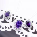 Silver CZ Royal Wedding Inspired Earrings Pendant Set (Amethyst) (PS-1024-A)