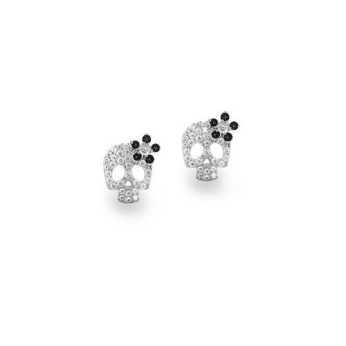 Sterling Silver Cz Black Flower Summer Skull Earring Studs (ST-1509)