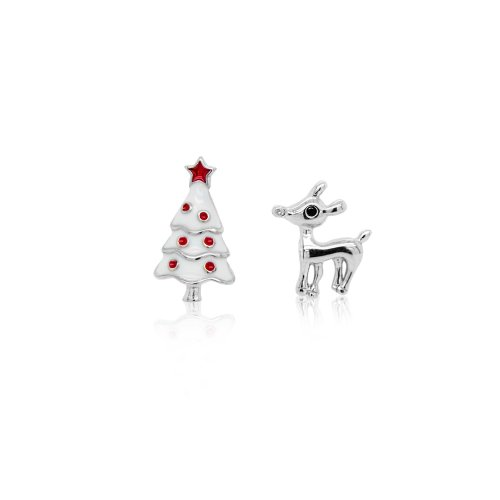 Sterling Silver MisMatched Reindeer and Enamel Christmas Tree Studs (ST-1511)