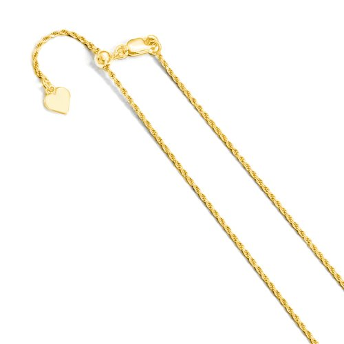 Sterling Silver Adjustable Gold Plated Rope Chain (ROPE30-G-ADJ)