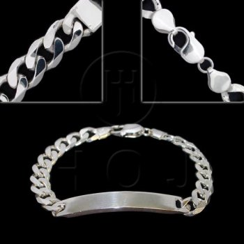 Silver ID Bracelet Curb Men's 9.5mm (ID-GD-250)