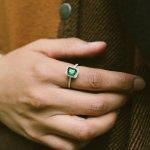 Silver Rectangular Emerald Stone CZ Ring (R-1528-E)