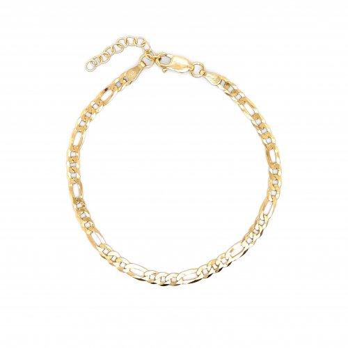 Sterling Silver Gold Vermeil Flat Figaro 100 Chain Bracelet 4.3mm (BR-1377)