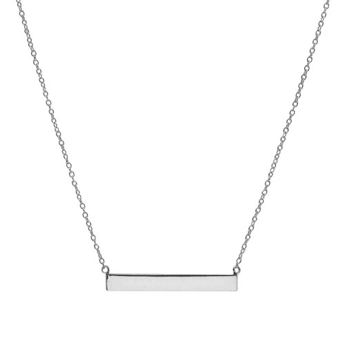 Sterling Silver Plain Bar Necklace (N-1083)