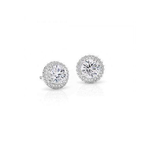 Silver Round CZ Halo Stud Earrings (ST-1058)