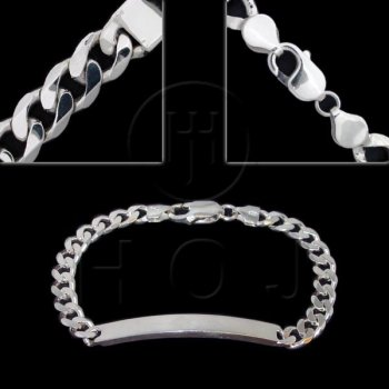 Silver ID Bracelet Curb Women's 6.5mm (ID-GD-180)