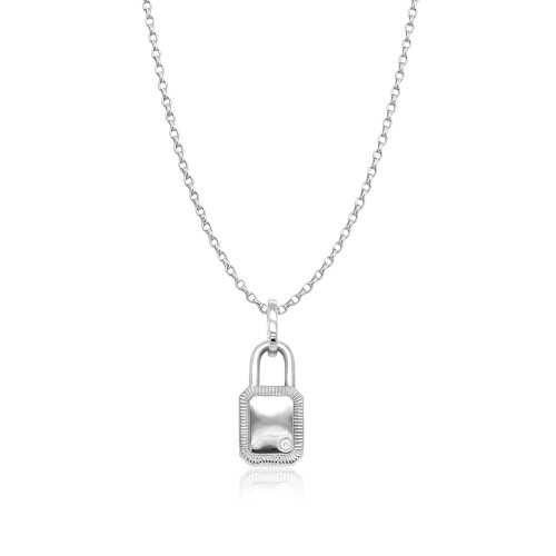 Sterling Silver CZ Framed Lock Necklace (N-1465)