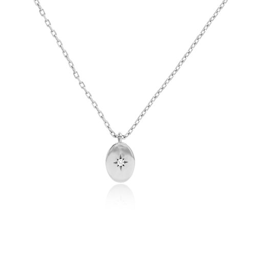 Sterling Silver CZ Oval Star Necklace (N-1459)