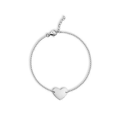Sterling Silver Flat Heart Bracelet (BR-1380)