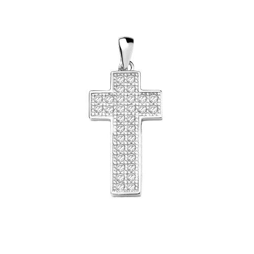 Silver Cubic Zirconia Religious Cross Pendant (Micro-Pave) CR-1015