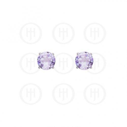 Silver Round CZ Stud Birthstone Earrings (ST-1024-JUN)