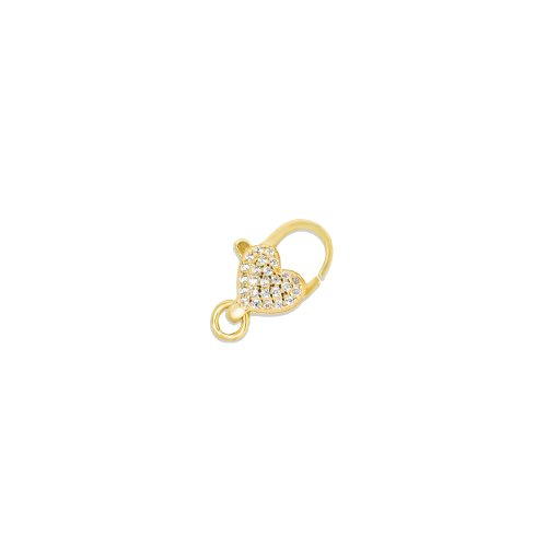 Sterling Silver Gold Plated Heart CZ Pave Lobster Claw (LC-HP)