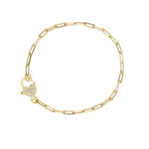 Sterling Silver Gold Plated Paperclip Heart CZ Pave Bracelet (BR-1381)