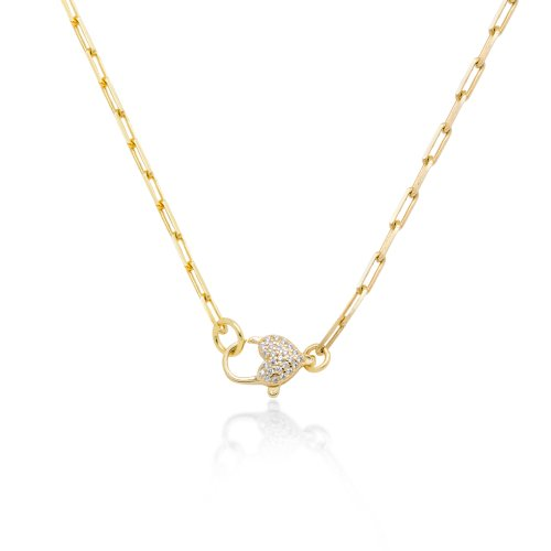 Sterling Silver Gold Plated Paperclip Heart CZ Pave Necklace (N-1467)
