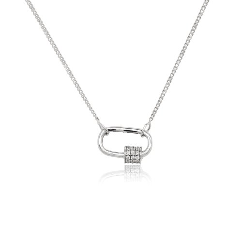 Sterling Silver Rhodium Plated CZ Lock Necklace (N-1469)