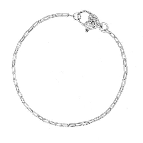 Sterling Silver Rhodium Plated Paperclip Heart CZ Pave Bracelet (BR-1382)