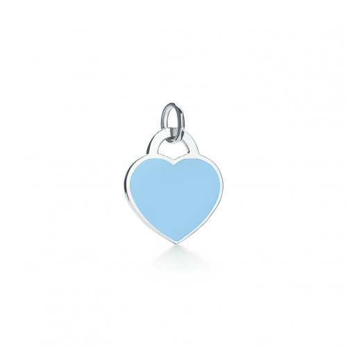 Silver Assorted Tiffany Inspired Turquoise Heart Dog-Tag Pendant 12mm (DT-H-101-T)