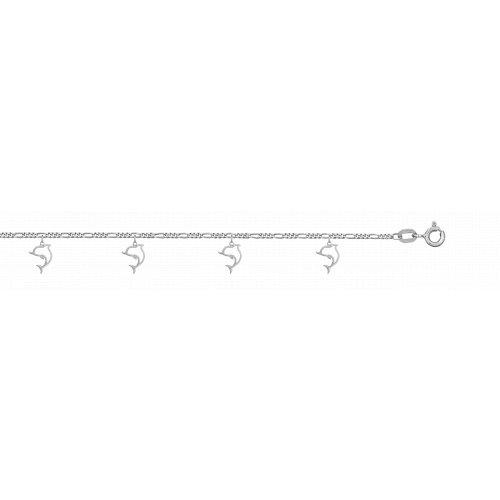 Silver Plain Italian Dolphin Anklet (ANK-1030)