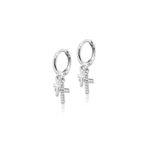 Sterling Silver Double Cross CZ & Plain Huggie (HUG-1070)