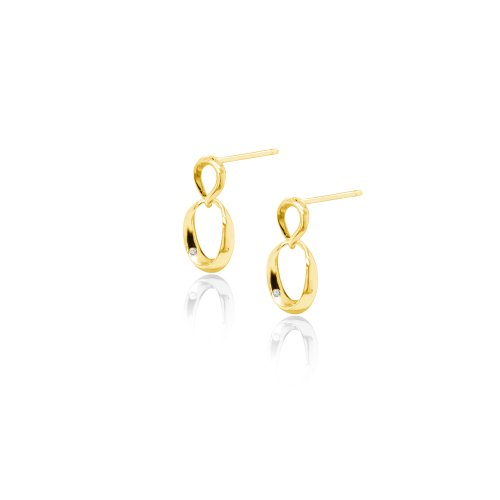 Sterling Silver Gold Plated Mini Abstract Intertwined CZ Studs (ST-1524)