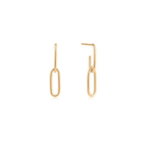 10K Yellow Gold Paperclip Droop Studs (GE-10-1100)
