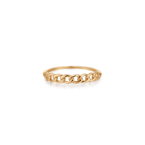 10K Yellow Gold Delicate Demi Curb Link Ring (GR-10-1099)