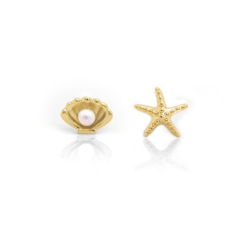 Sterling Silver Gold Vermeil Mismatched Starfish and Pearl Clam (ST-1527)