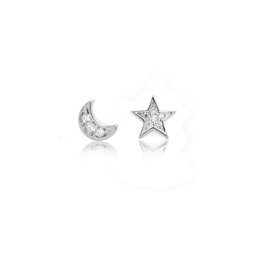 Sterling Silver Mismatched CZ Moon and Star Studs (ST-1526)