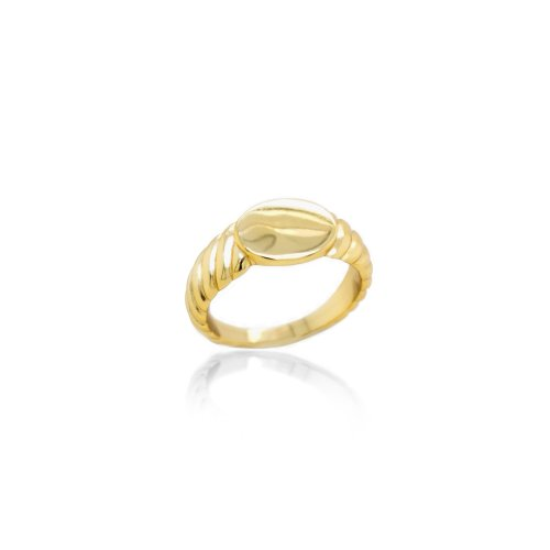 Sterling Silver Gold Plated Flat Oval Croissant Signet Ring (R-1591-G)