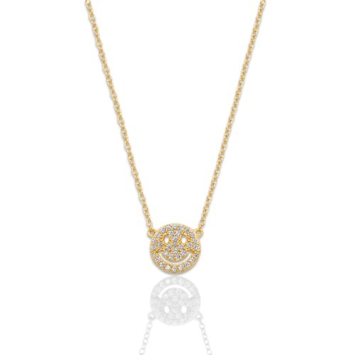 Sterling Silver CZ Smiley Face Necklace (N-1473)