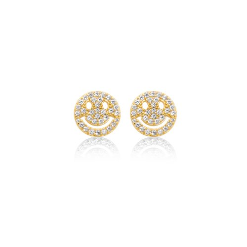 Sterling Silver Gold Plated CZ Smiley Face Studs (ST-1528)