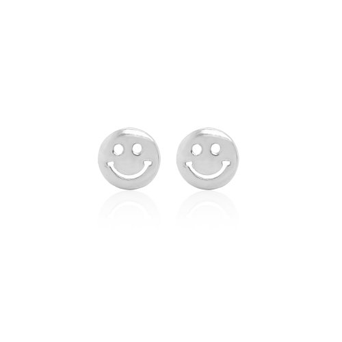 Sterling Silver Plain Smiley Face Studs (ST-1529)