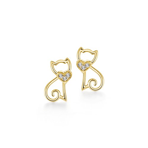 Sterling Silver Gold Plated CZ Cat Studs (ST-1531)