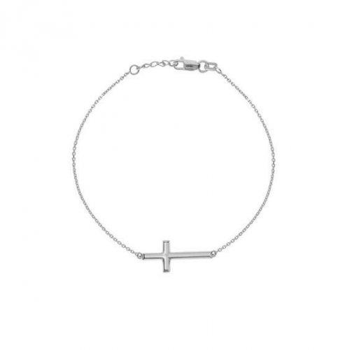 Sterling Silver Plain Cross Bracelet (BR-1388)