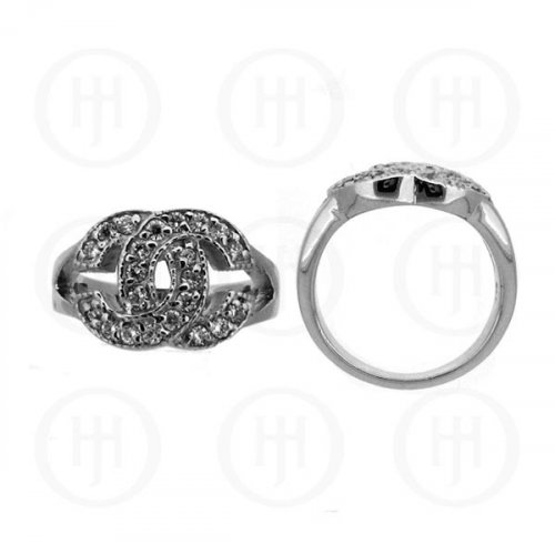 Silver Rhodium Plated CZ Chanel Inspired Ring (CN-460)