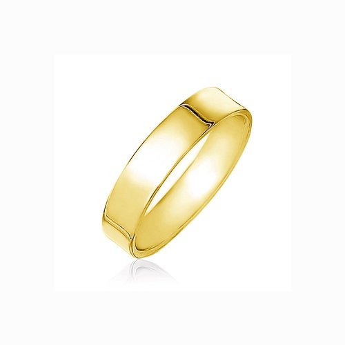 Sterling Silver Gold Plated 5mmm Plain Band Ring (R-1596)
