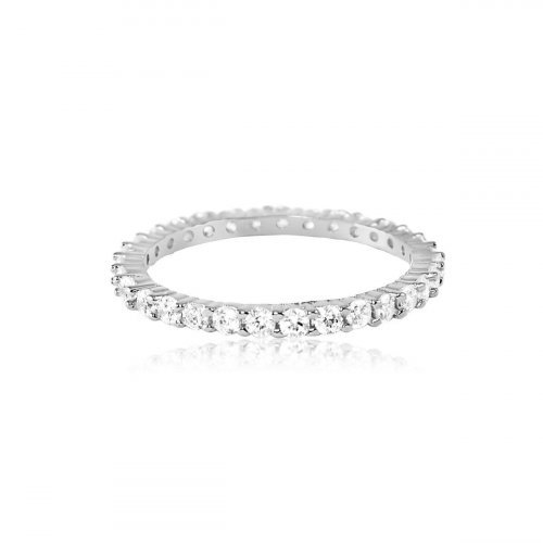 Sterling Silver Gold Plated Shared Prong CZ Eternity Band Ring 3mm (R-1592)