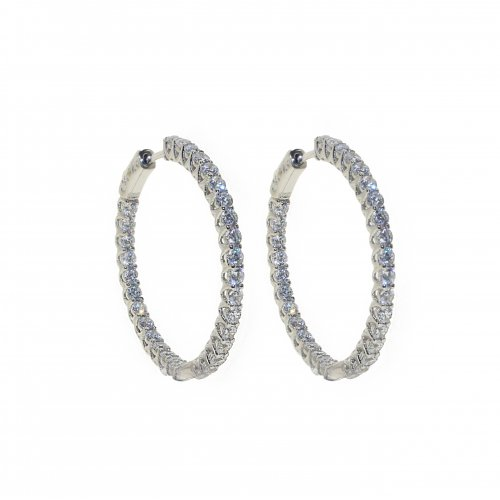 Silver Round Sectioned CZ Hoops (HP-CZ-1039-25)