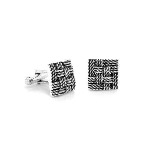 Square Oxidized Weaved Cuff Links (CL-115)
