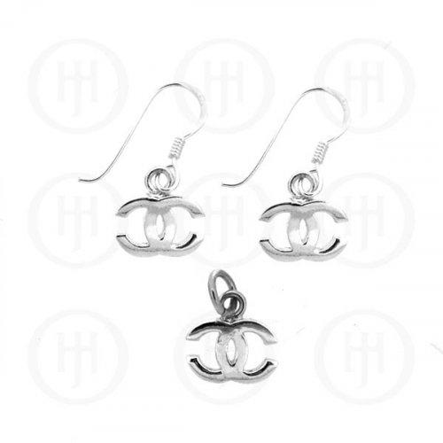 Silver Plain Dangle Earrings Pendant Set Chanel Inspired (CN-468)