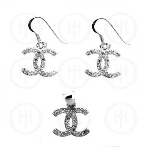 Silver CZ Dangle Earrings Pendant Set Chanel Inspired (CN-464)