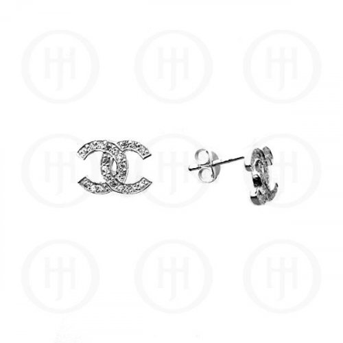 Silver Assorted CZ Chanel Inspired Stud Earrings (CN-457)