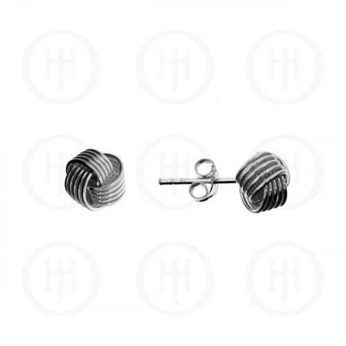 Silver Plain Love Knot Stud Earrings 7mm (ST-1007)