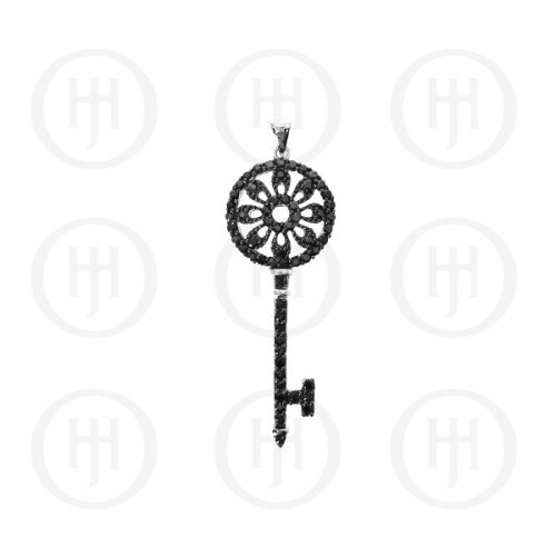 Silver Black CZ Tiffany Inspired Key Pendant (P-1069-B)