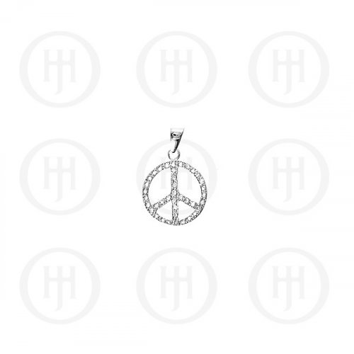 Silver CZ Assorted Peace Sign Pendant (P-1120)