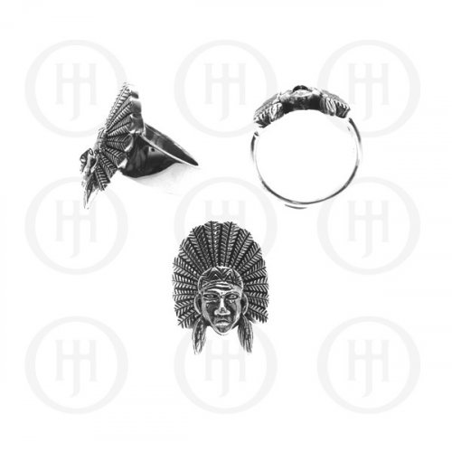 Silver Men's Native with Headdress Ring (6090077700)