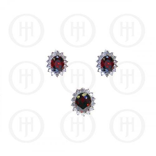 Silver CZ Royal Wedding Inspired Earrings Pendant Set (Garnet)(PS-1024-G)