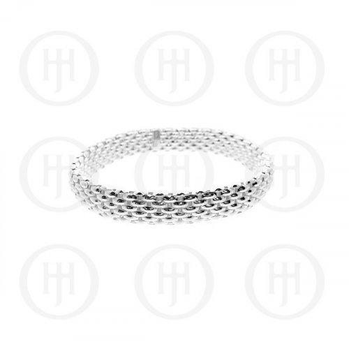 Silver Tri-Colour Rhodium Plated Flat Stretch Bracelet (SSTRETCH)
